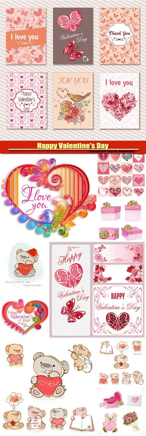 Happy Valentine's Day vector, hearts, romance, love #8