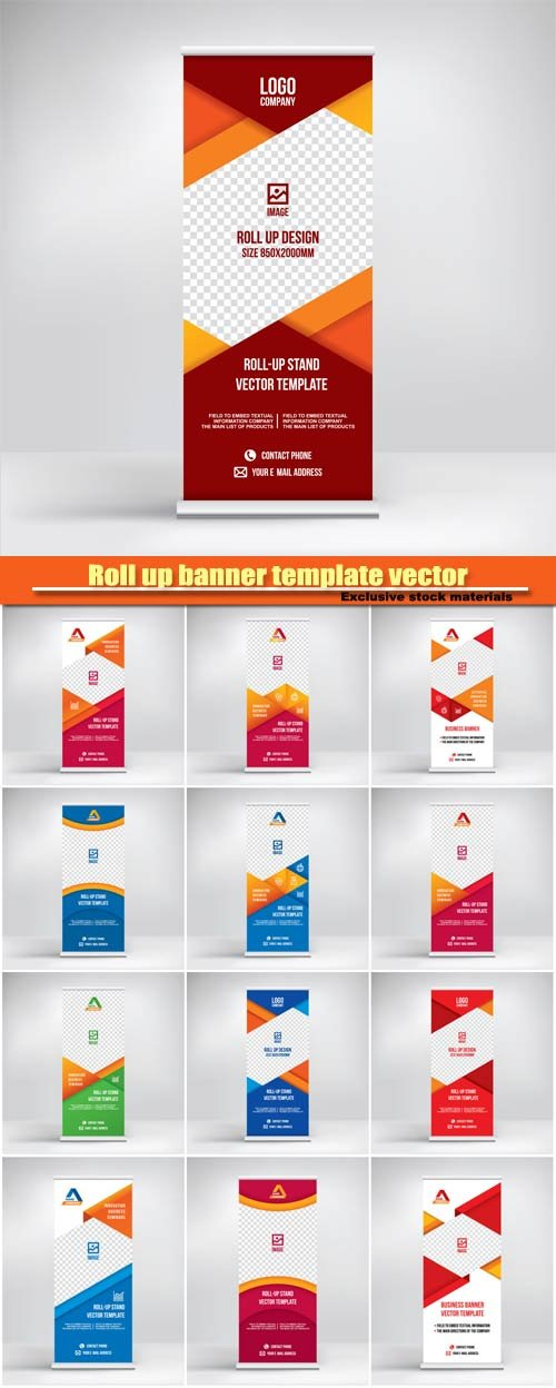 Векторный клипарт Roll up banner vector template, flyer poster