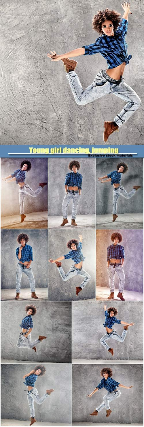 Young girl dancing, jumping