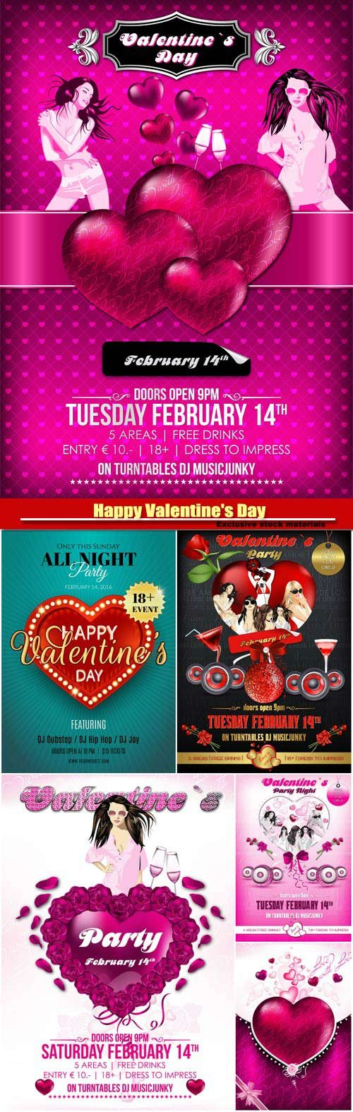 Vector valentine's day celebration posters