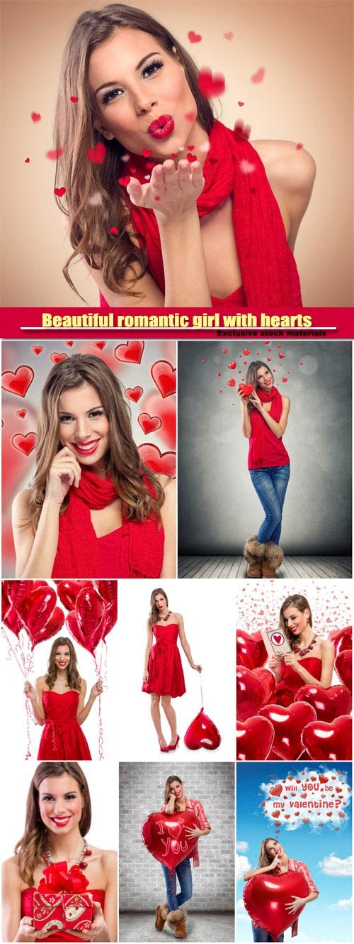 Beautiful romantic girl with hearts
