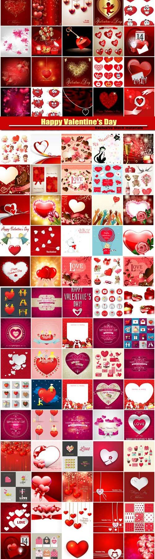Big collection of vector festive Valentine's Day