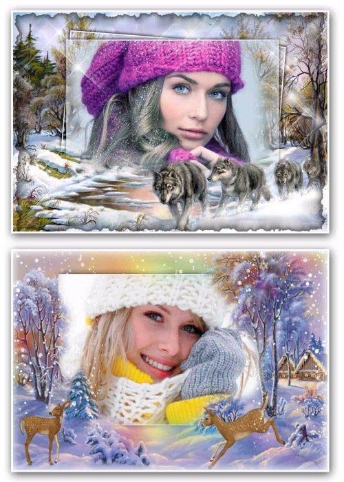 рамка для фотошопа – Зимние чудеса