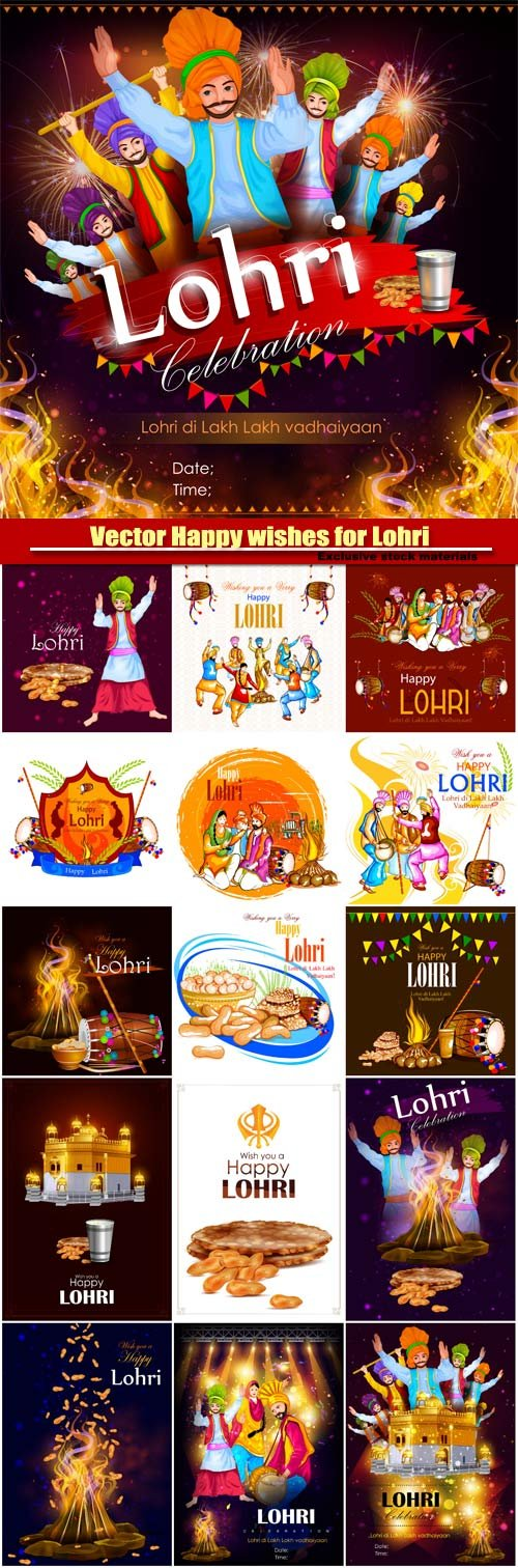 Vector Happy wishes for Lohri on festival of Punjab India background