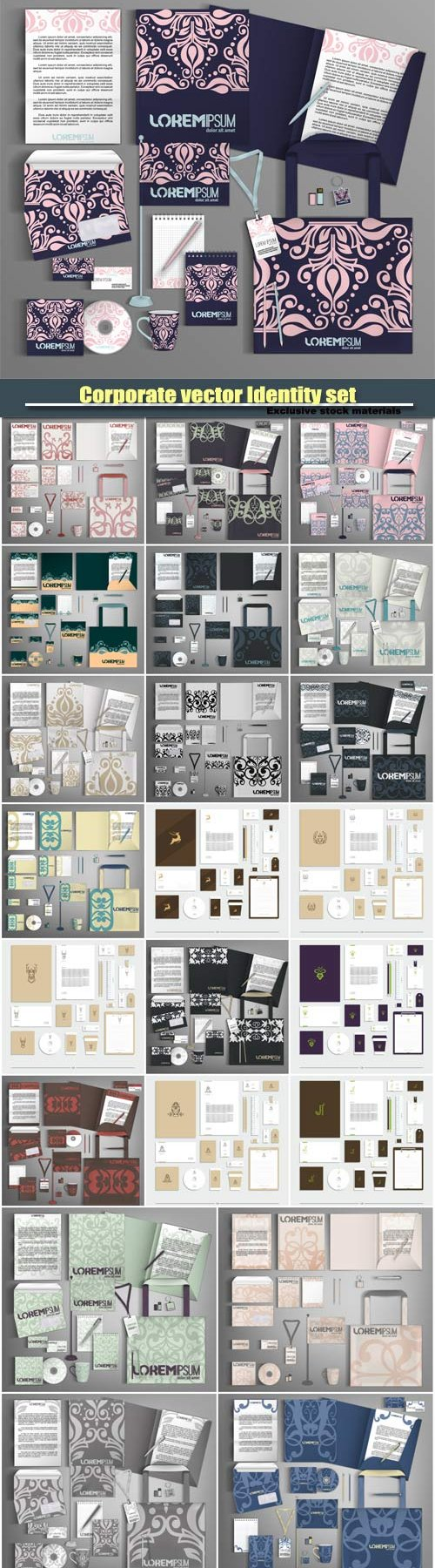 Векторный клипарт Corporate vector Identity set with abstract pattern