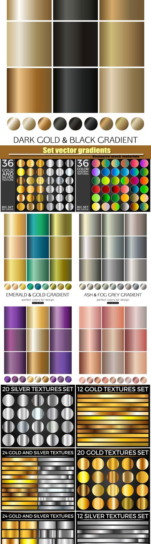 Set vector gradients, gold gradients for fashion background