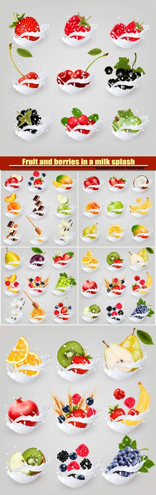 Big vector collection icons of fruit and berries in a milk splash