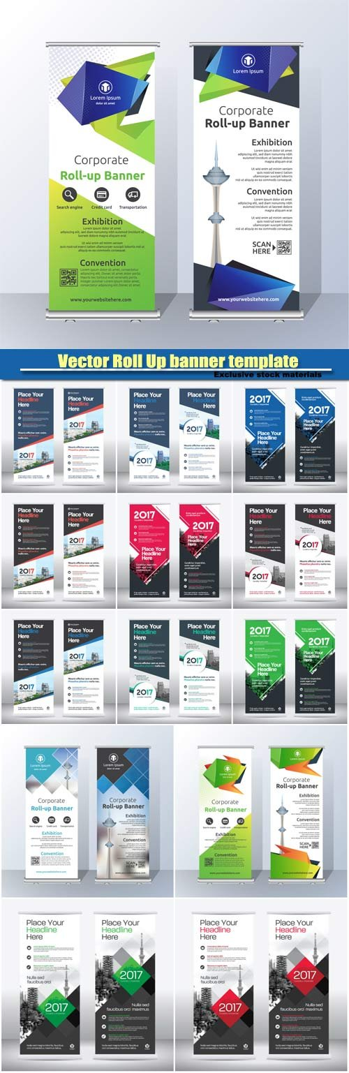 Vector Roll Up banner template design #7