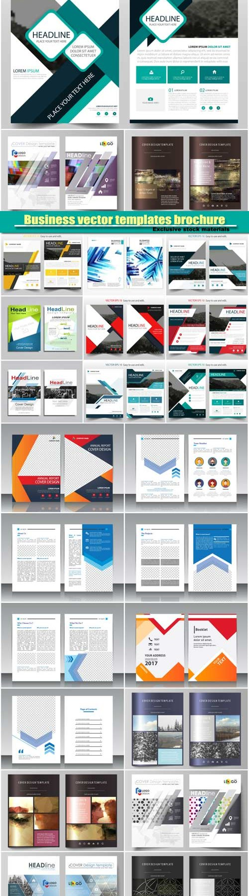 Business vector templates brochure, magazine, flyer, booklet or annual report