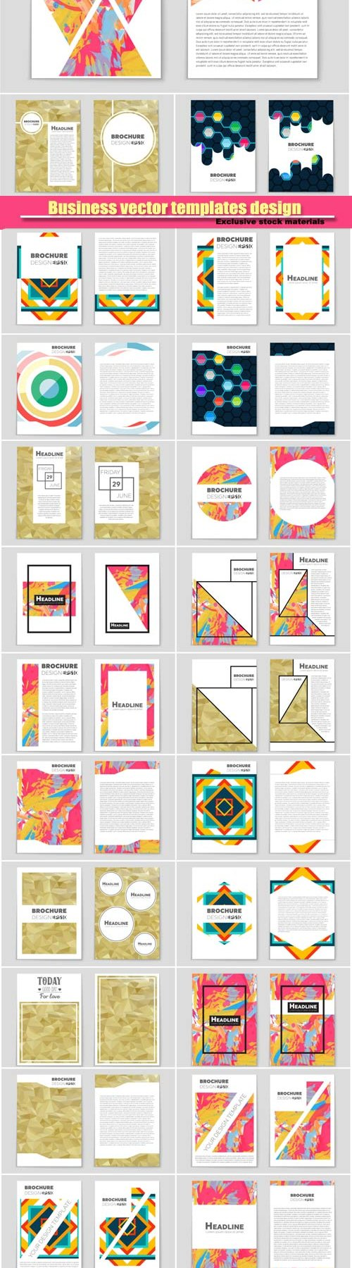 Abstract vector layout background set, template brochure design