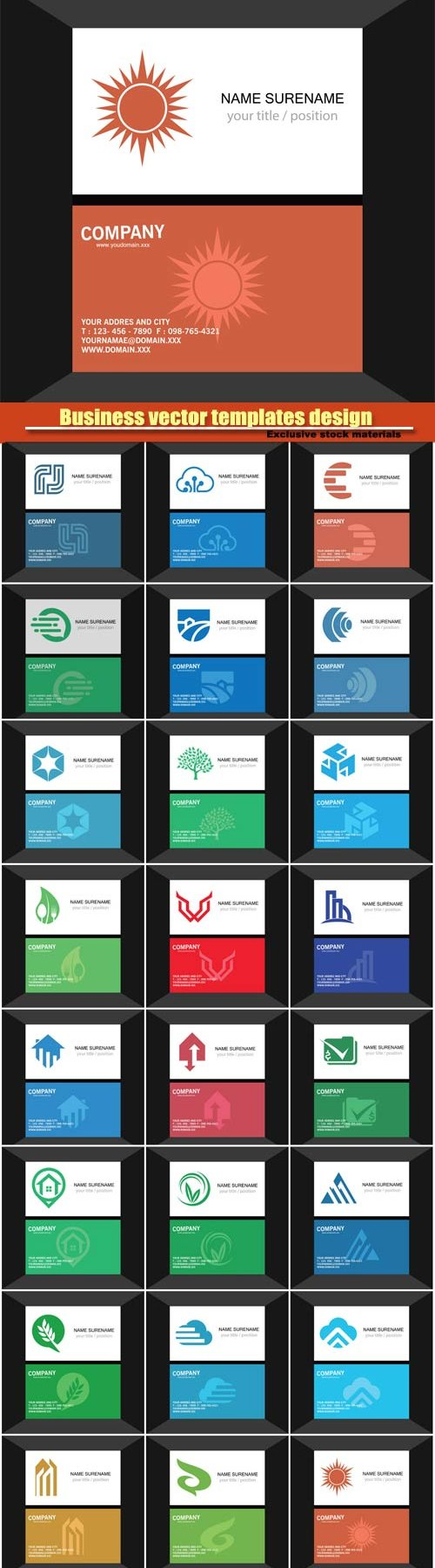 Business vector card set of logos templates