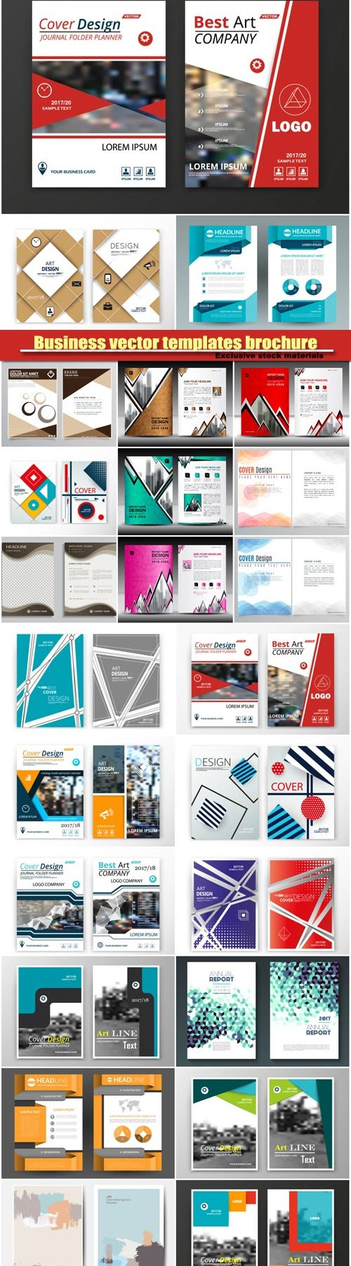 Business vector flyer templates brochure, colored cover image texture