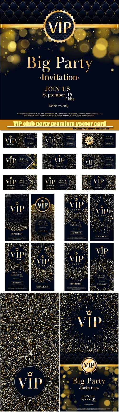 VIP club party premium vector invitation card, golden design template