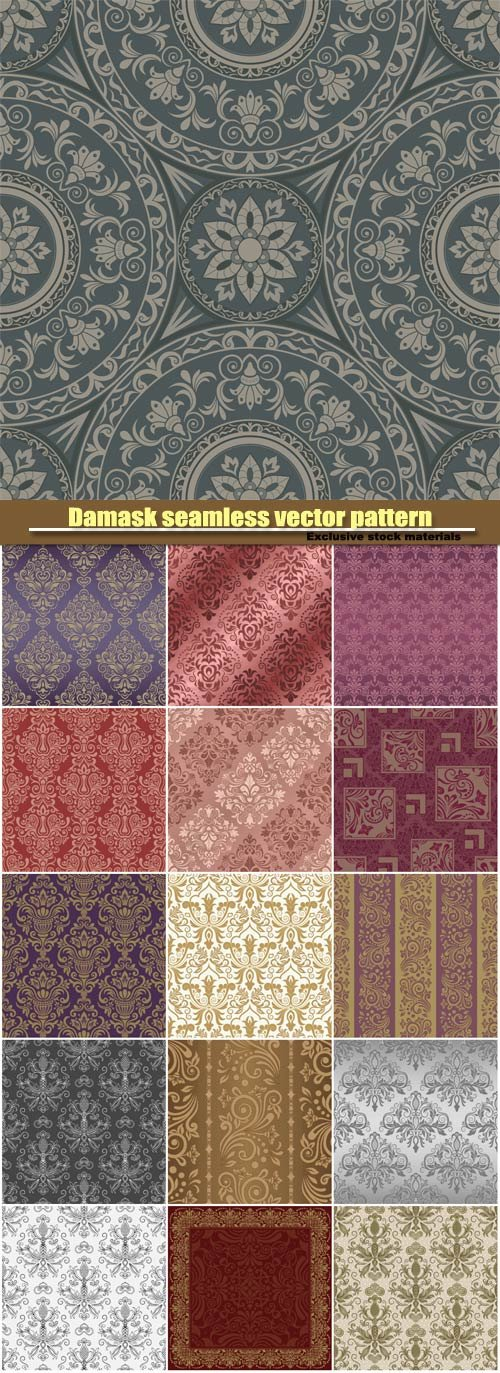 Damask seamless vector pattern for design