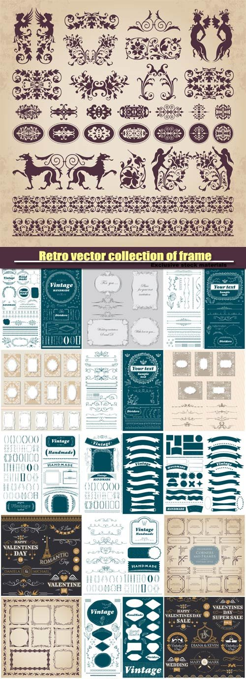 Retro vector collection of frame, decorative ornament design elements