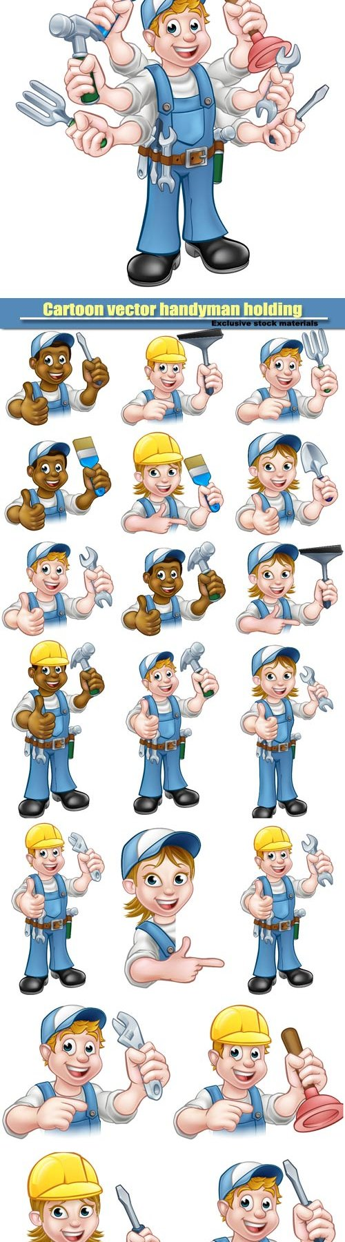 Cartoon vector handyman holding lots of tools