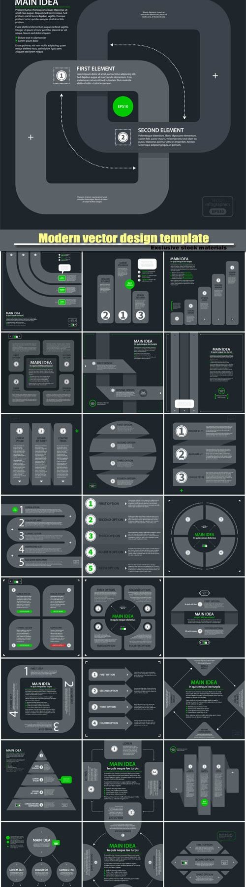 Modern vector design template with four arrows and options in flat style on dark gray background
