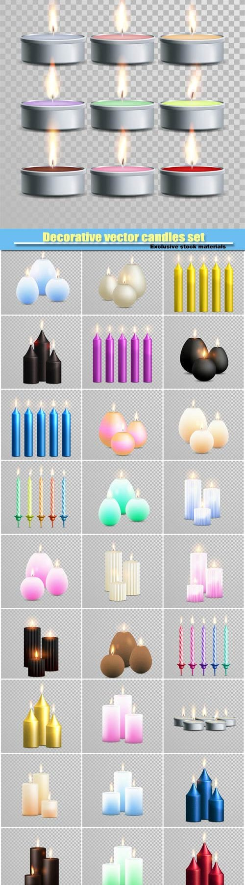 Decorative vector candles set