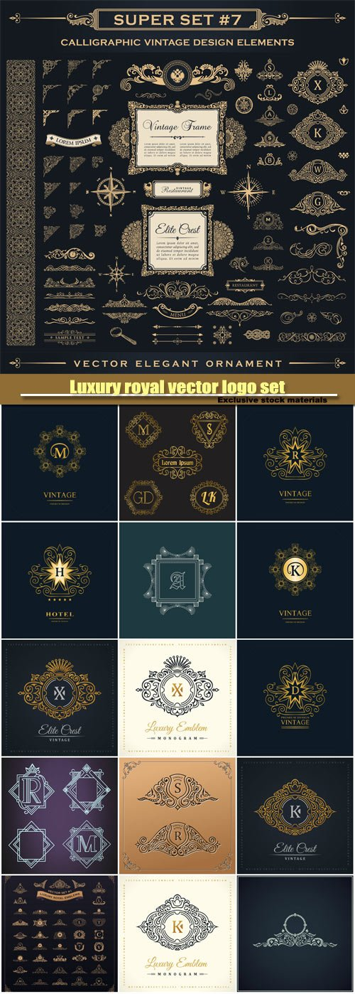Luxury royal vector logo set, emblem, heraldic monogram, calligraphic floral sign, gold letters in frames