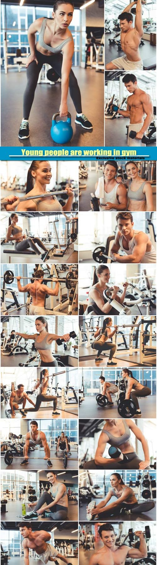 Attractive young people are working in gym