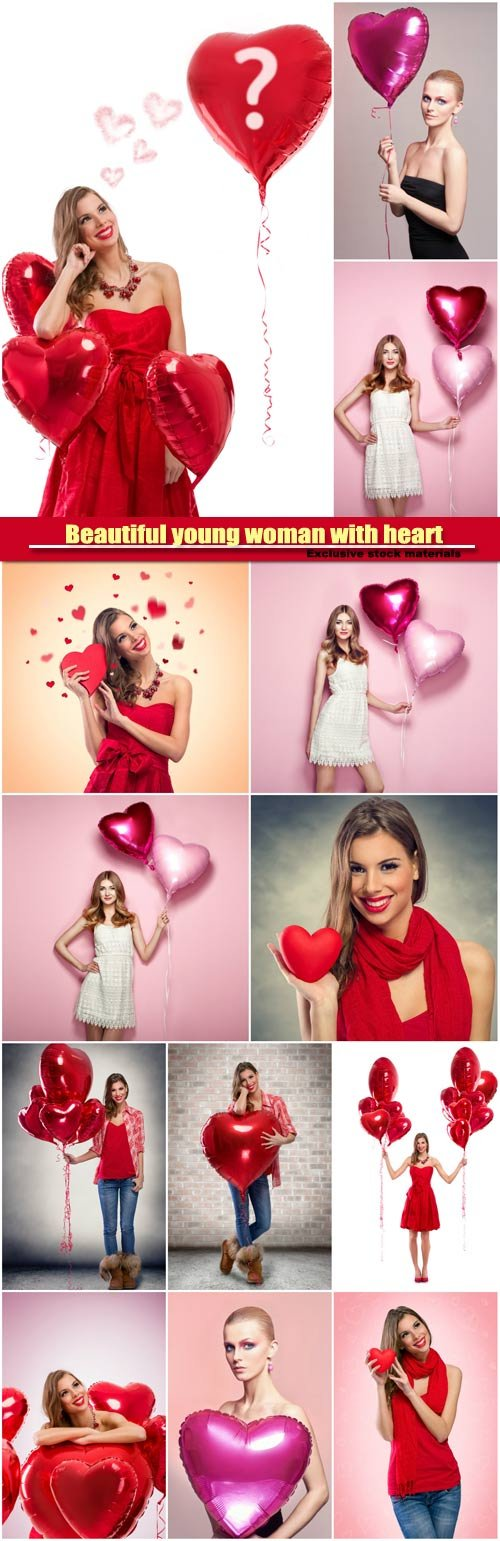 Beautiful young woman with heart shape air balloon, valentine woman
