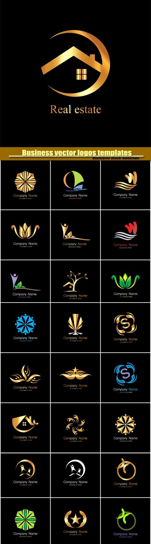 Business vector logos templates, creative gold figure icon #3