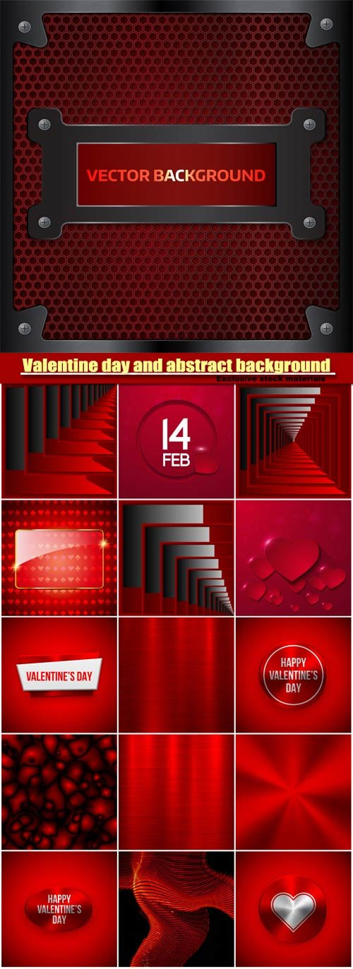 Valentine day background and red abstract vector