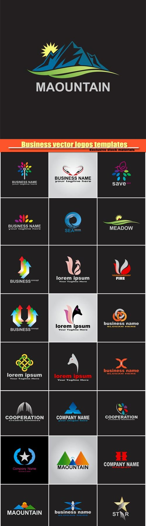 Business vector logos templates, creative figure icon