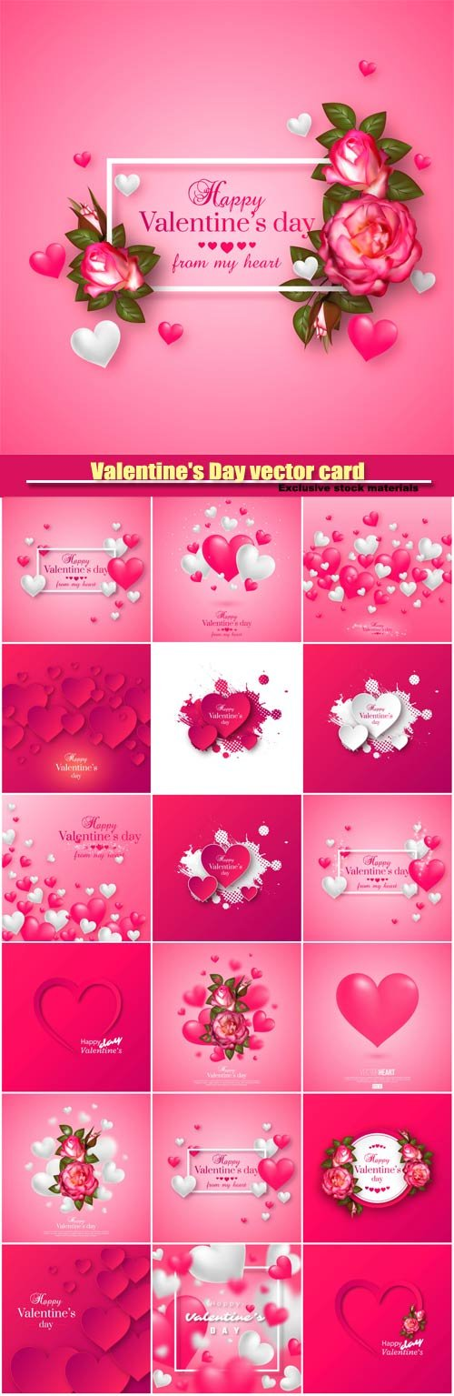 Valentine's Day vector card, cards with hearts