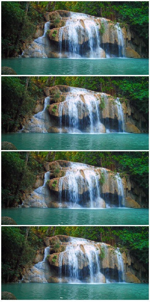 Footage Waterfall in tropical rainforest flows in emerald pond