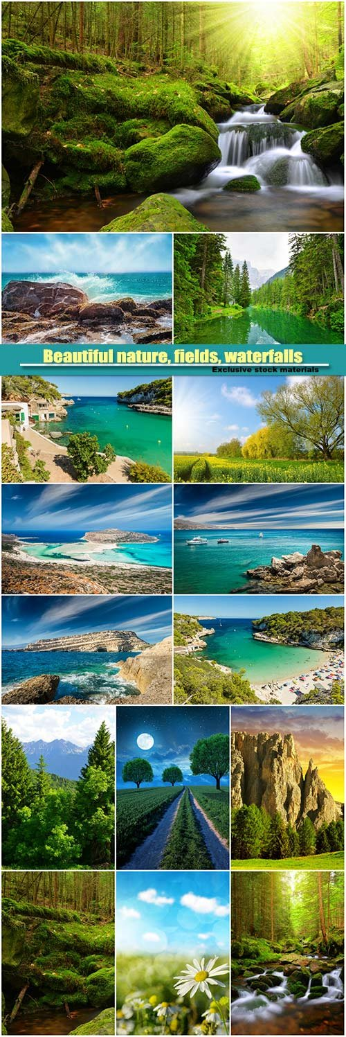 Beautiful nature, fields, waterfalls, forests, sea
