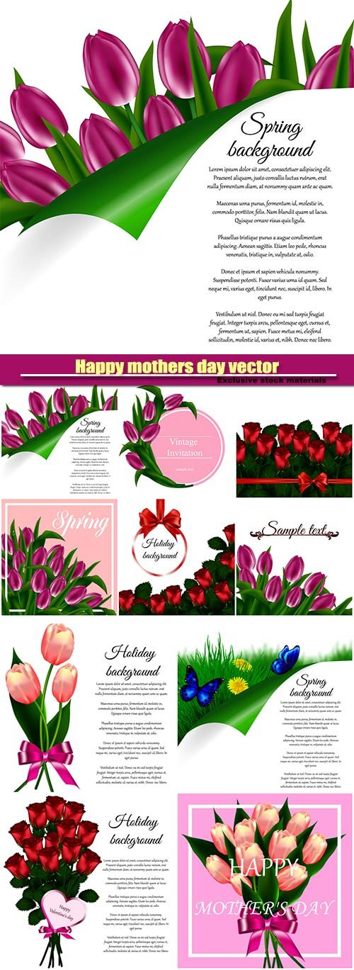 Happy mothers day vector greeting card, tulip flowers