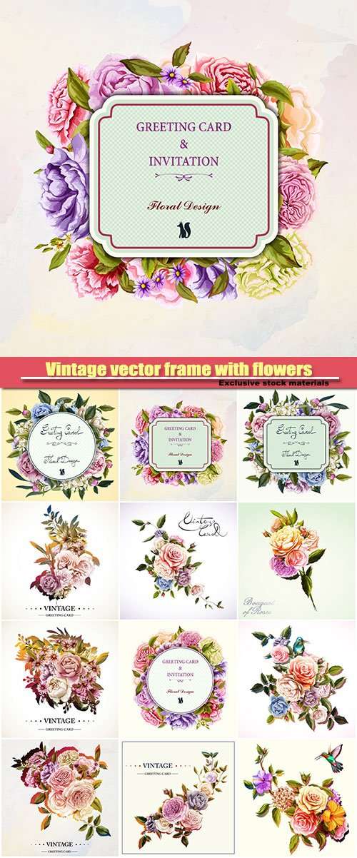Vintage vector frame with flowers