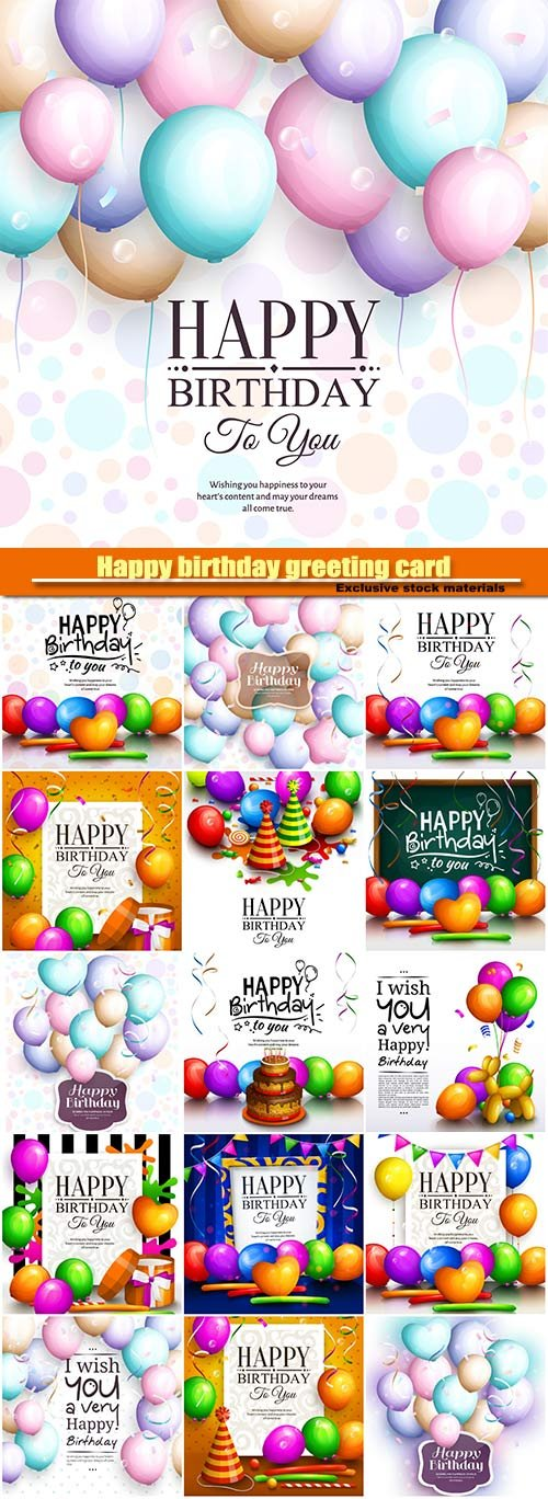 Happy birthday greeting card,  multicolored balloons