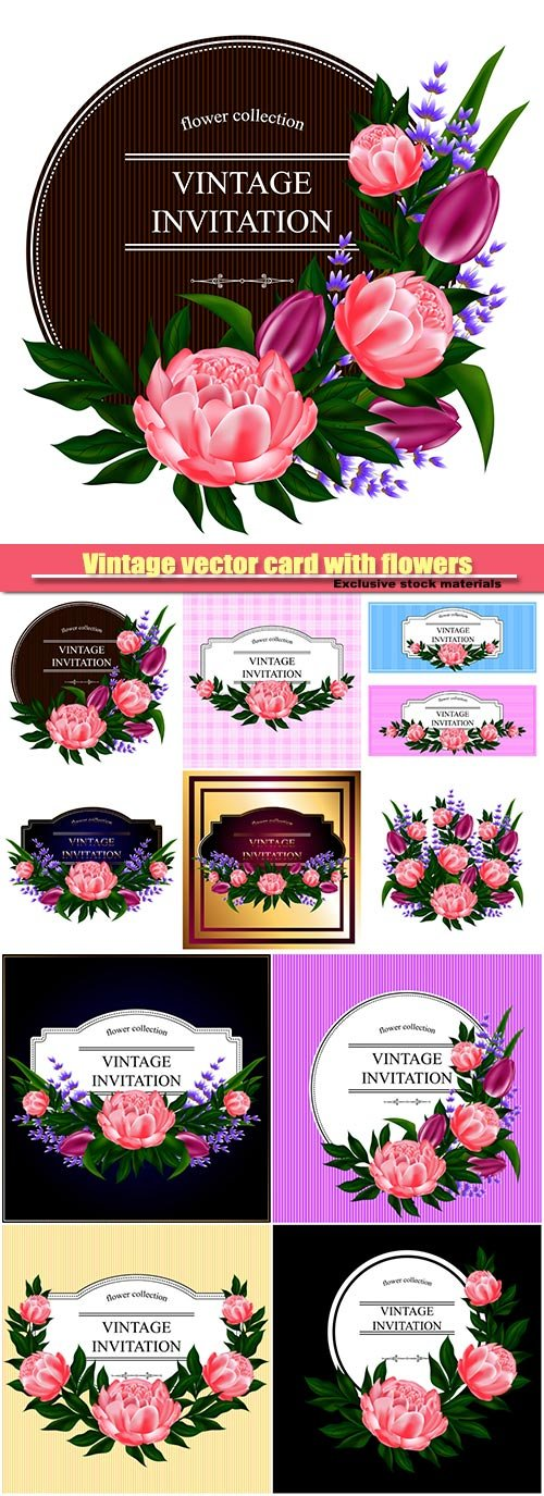 Vintage vector card with flowers, bouquet of roses, peonies, lavender