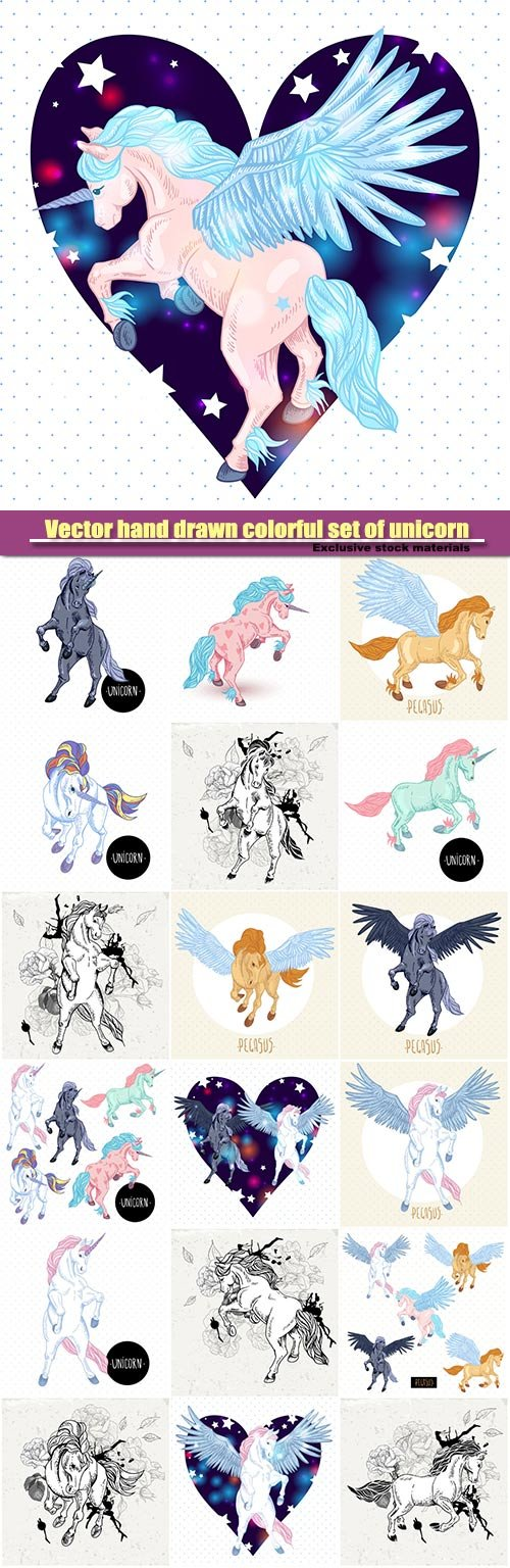 Vector hand drawn colorful set of unicorn