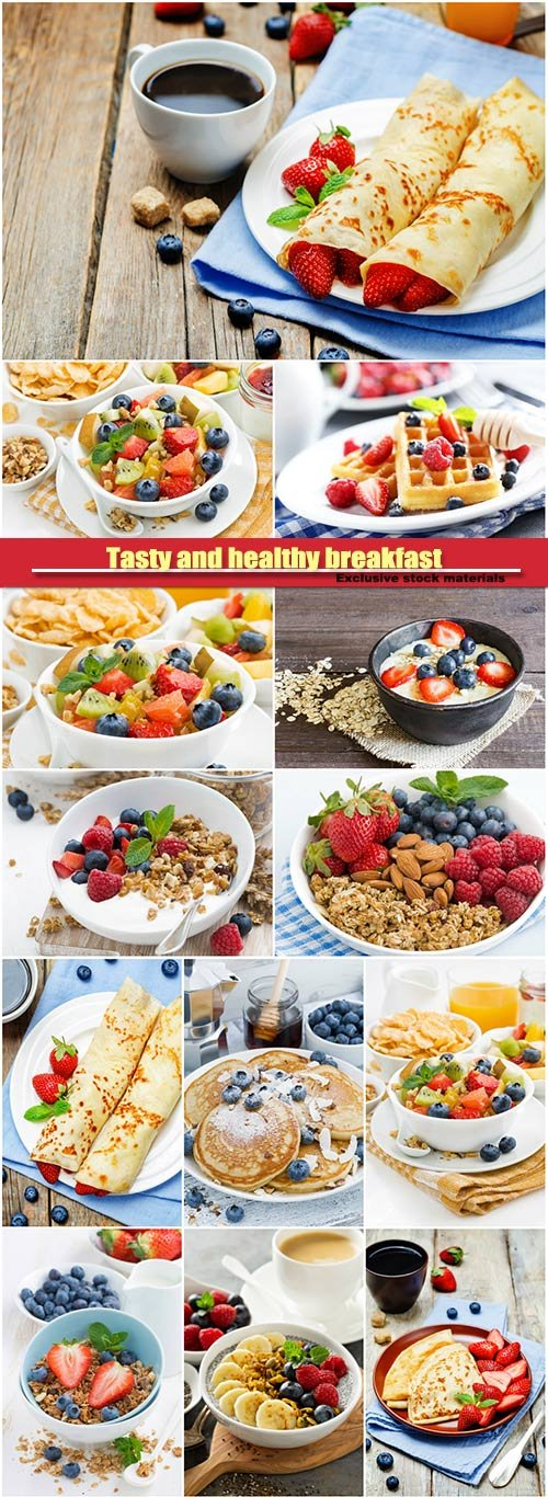 Tasty and healthy breakfast, fruit salad, corn flakes, crepes with strawberries, waffles with berries