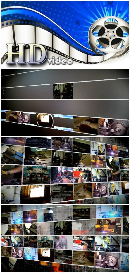 Video footage multiscreen industrial production montage