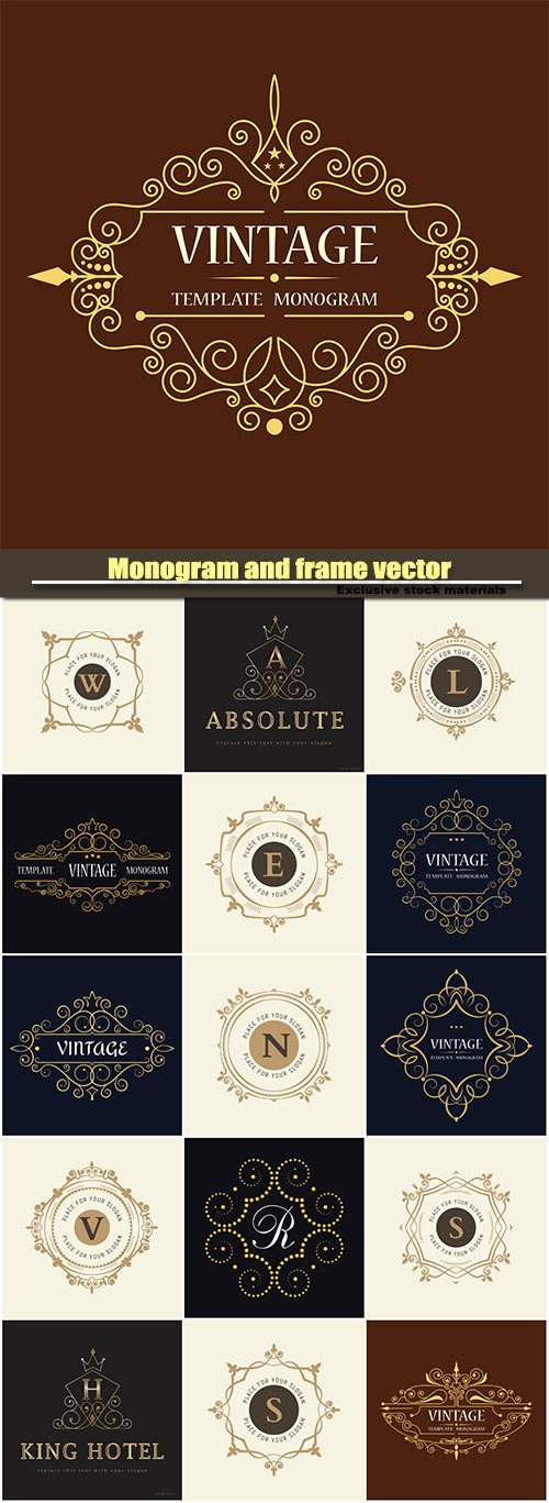 Monogram and frame vector