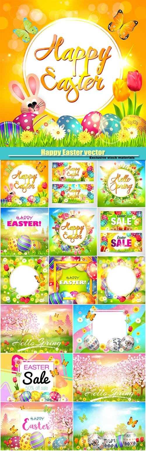 Happy Easter, vector background with flowers and Easter bunny