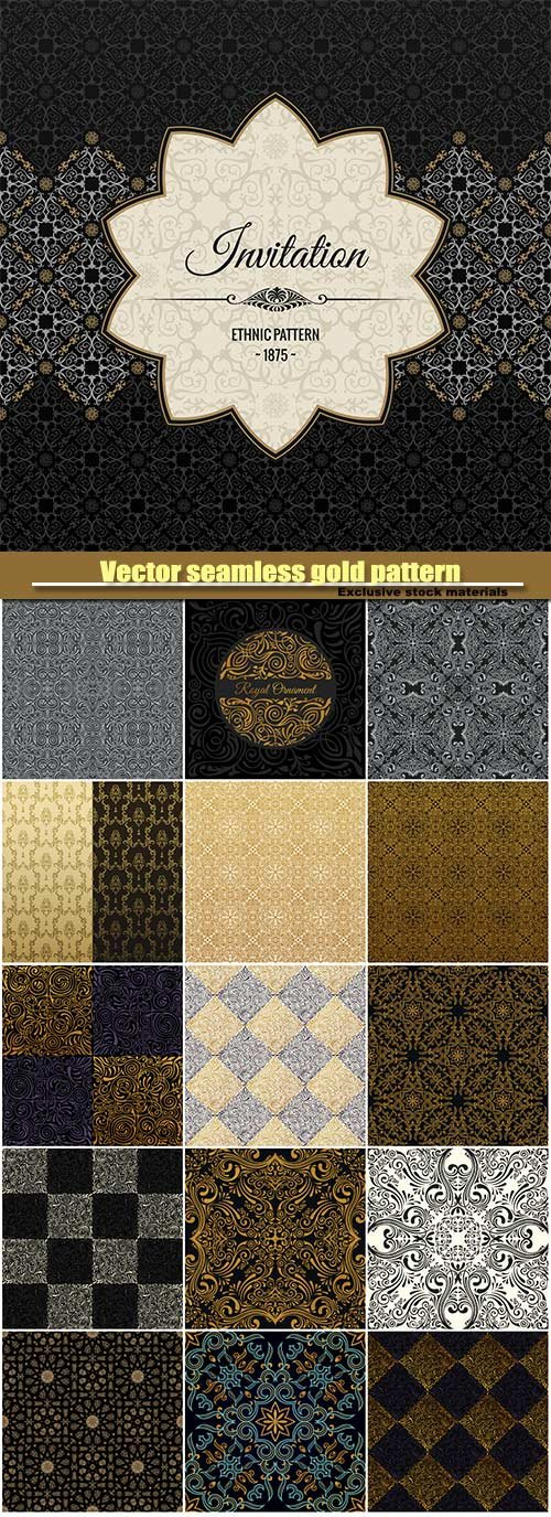 Vector seamless gold pattern with art ornament
