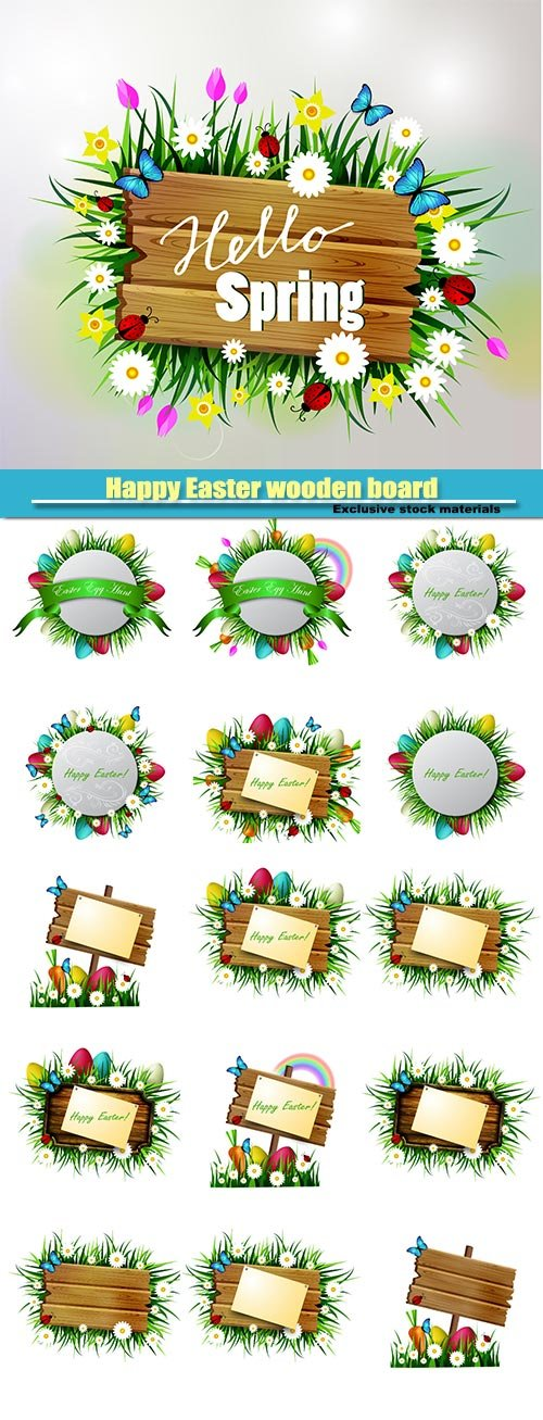 Happy Easter wooden board, flowers blue butterflyes, easter eggs, spring wooden board