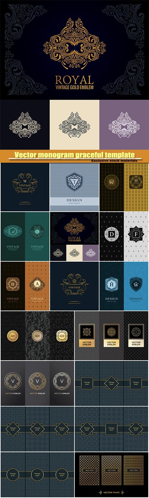 Vector monogram graceful template, seamless pattern , calligraphic elegant logo design