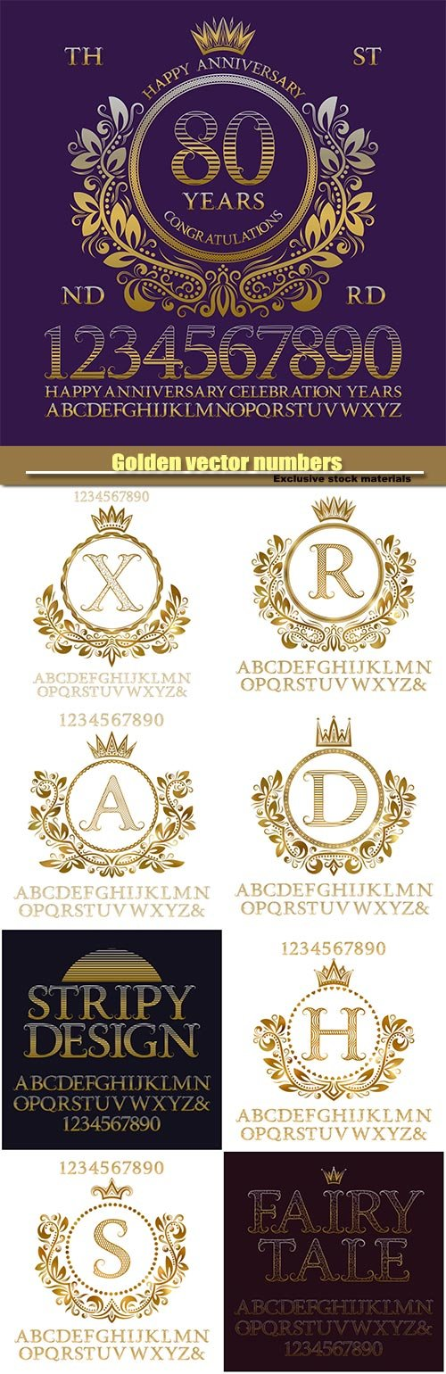 Golden vector numbers, alphabet,  monogram and frame