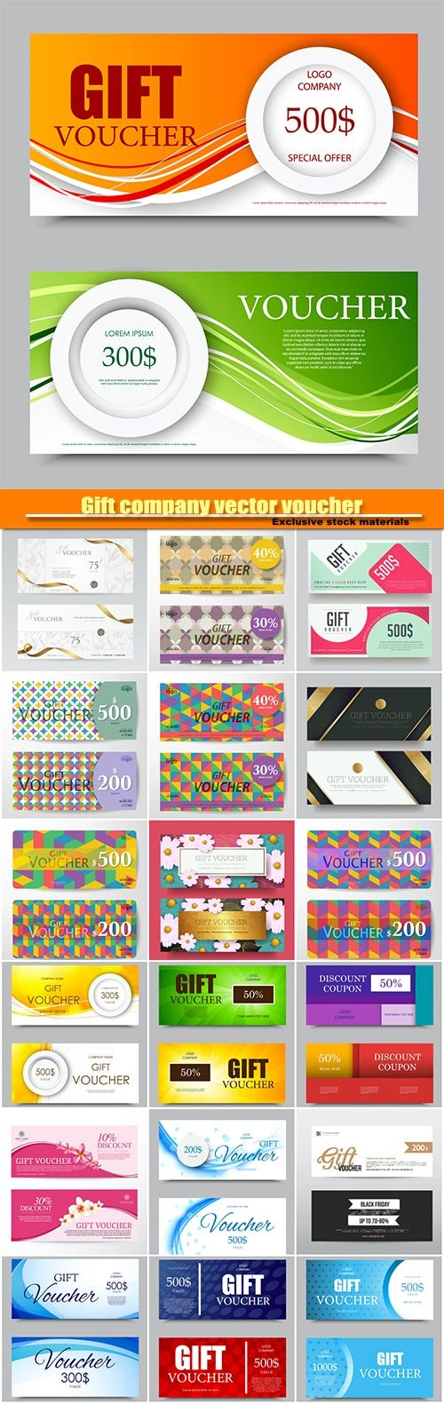 Gift company vector voucher template