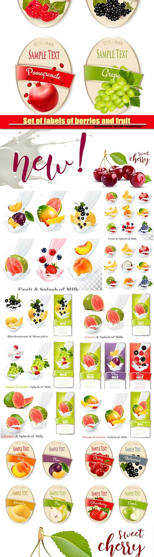 Set of labels of berries and fruit, fruit in a milk splash