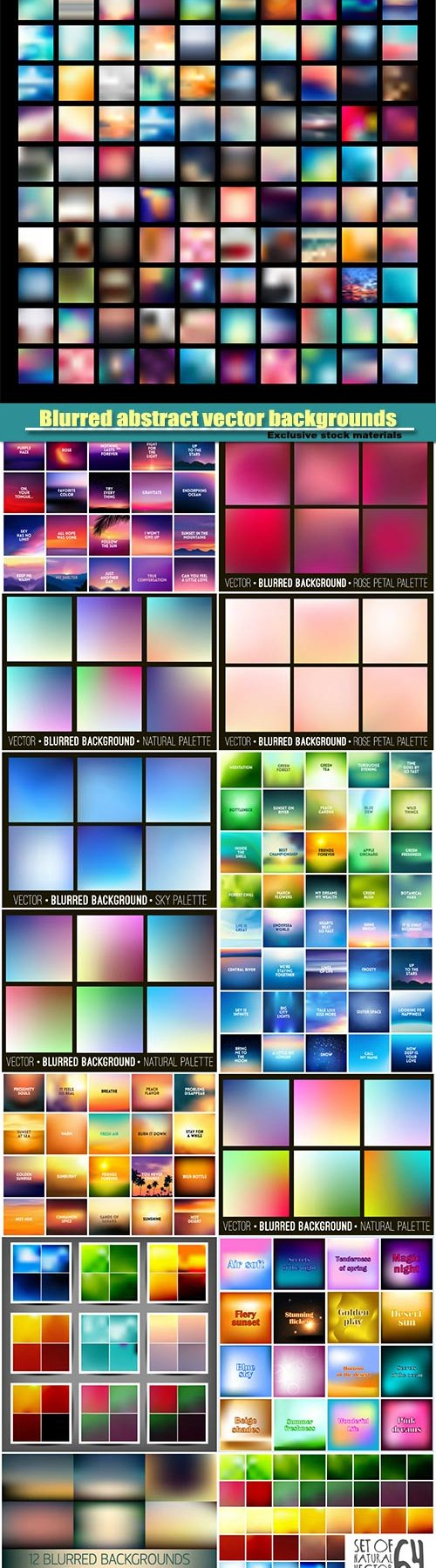 Blurred abstract vector backgrounds set