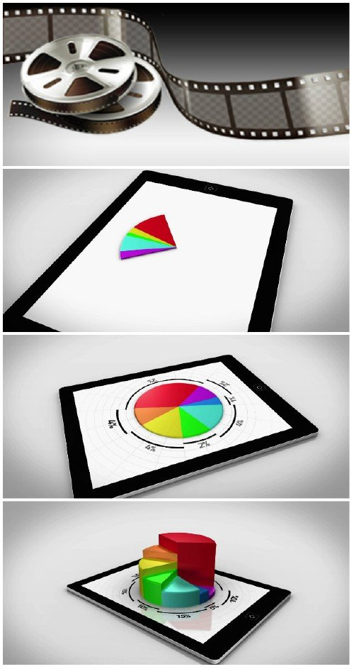 Video footage Colourful 3d pie chart on tablet pc on white background