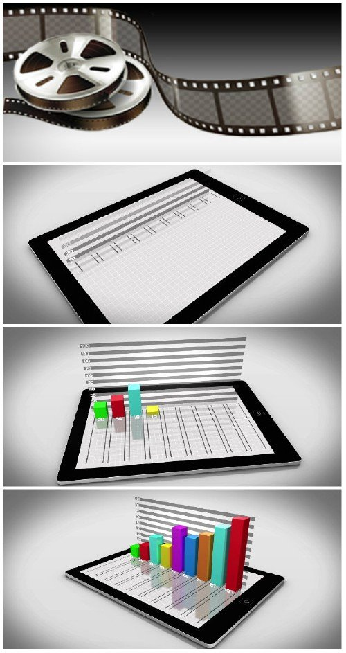 Video footage Colourful 3d bar chart on tablet pc on white background