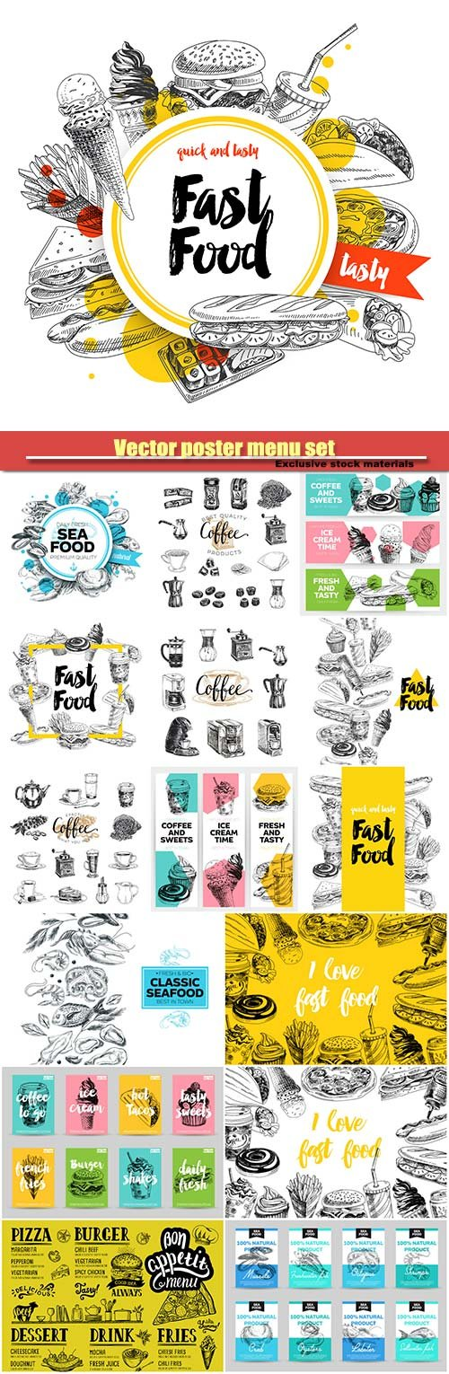 Vector poster menu set, hand drawn coffee